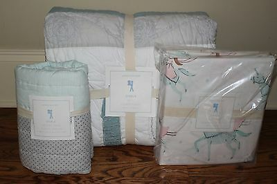 NWT Pottery Barn Kids Starla Ice Castle twin quilt, sham & sheet set princess
