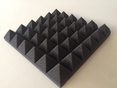 9 pc Pyramid Acoustic Soundproof Studio foam Tiles 2 x 12 x 12 (charcoal)