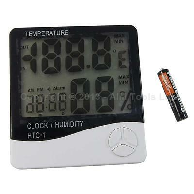 99073 Indoor Outdoor Digital Temperature Humidity Hygrometer Clock Thermometer