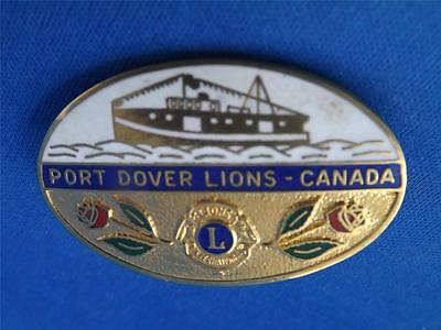 Lions Club Canada Port Dover Ontario Vintage Pin Fishing Boat