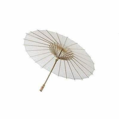 Vintage Oriental Folding White Wedding Party Paper Bamboo Umbrella Parasol 32""