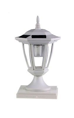 Set of 2 White Solar Hexagon Cap Lights With White LEDS for 4X4 Wood Fence Post