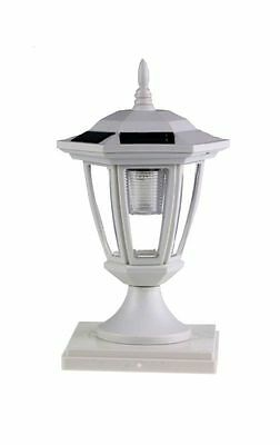 Set of 2 White Solar  Hexagon Cap Lights With White LEDS for 5X5 Fence Post