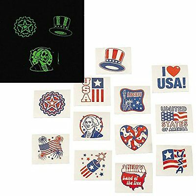 Fourth of July Patriotic Glow In The Dark Tattoos 720 Pc Wholesale lot (35/681)