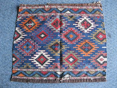 Pre 1900 Caucasian  Mafrash Bag Face   Very Good Colors With Crosses  Kelim