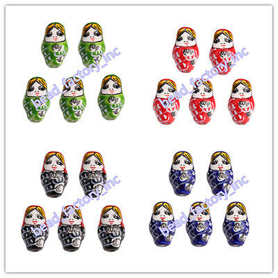 10pcs DIY Jewelry Porcelain Russian Nesting Doll Beads with 2.2mm Hole 22x13mm