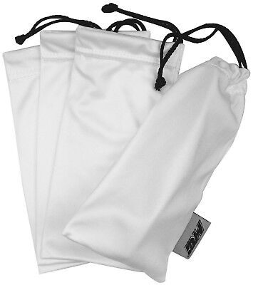 4 Pack Ultra Premium White Microfiber Sunglasses Pouch Soft Cleaning Case