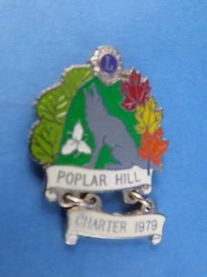 Lions Club Canada Ontario Poplar Hill Howling Wolf Vintage Pin Pinback