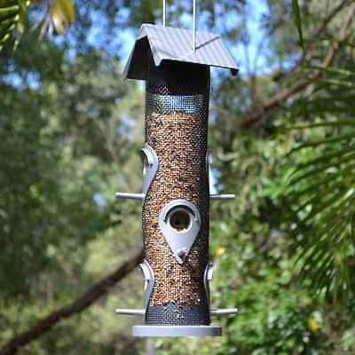 Hanging Grey and Black Tube Bird Feeder for wild garden birds of Australia