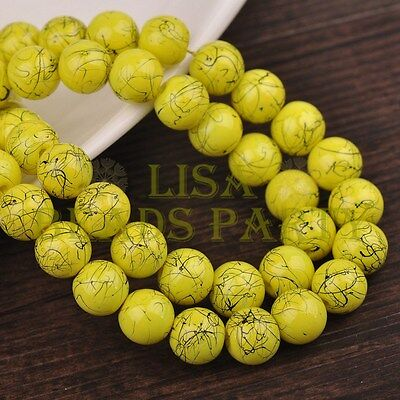 Hot 50pcs 8mm Round Black Stripes Charm Loose Spacer Glass Beads Lemon Yellow