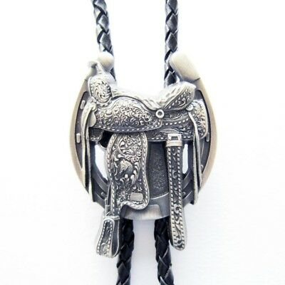 Silver Plated Horse Saddle Cowboy Boots Western Rodeo Bolo Tie