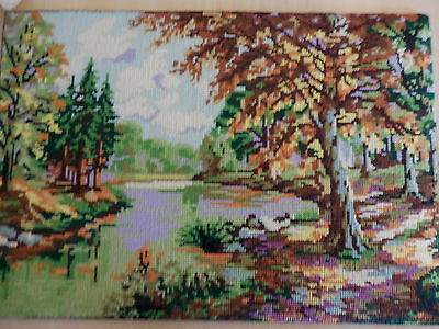 Vintage Gobelin L 14 727 Tapestry Completed Unframed European Country Scene