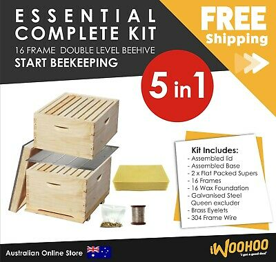 Essentials Complete 16 Frame Double Level Bee Hive Starter Kit Start Beekeeping