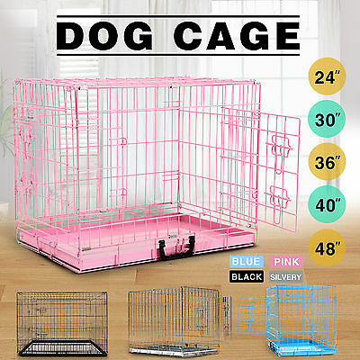 5 Sizes 4 color Folding Dog Cage Puppy Crate  Metal Training Pet Carrier Playpen