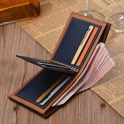 Fashion Men's Vintage Leather Bifold Purse ID Credit Card Holder Clutch Wallet