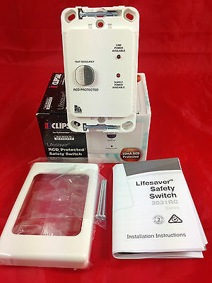 Clipsal ML2031VRC10 White RCD Protected Safety Switch 2 Pole 20A 10mA Vertical