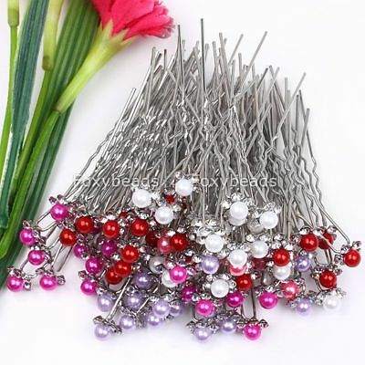100P Mixed Faux Pearl Crystal Girls Hairpins *wholesale