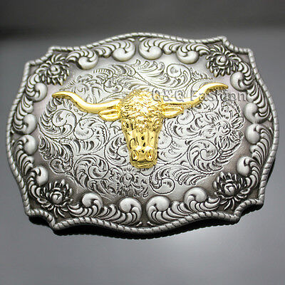 Western Vintage Silver Engraved Gold Horn Bull OX Head Rodeo Cowboy Belt Buckle
