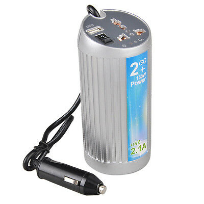 AC USB Port Mobile Charger Cup Holder Car Power Inverter Outlet 12V DC to 120V