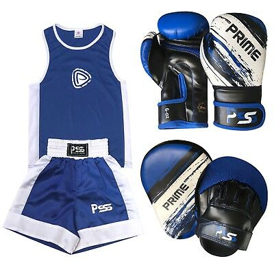 Blue Kids boxing set 3 Pcs Uniform + Boxing Glove 1012 + Focus pad 1106 (SET-14)