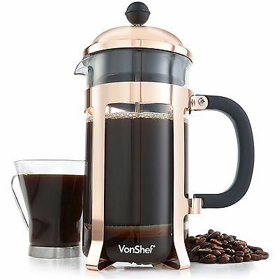 VonShef 8 Cup/1 Litre Copper Finish French Press Cafetiere Filter Coffee Maker