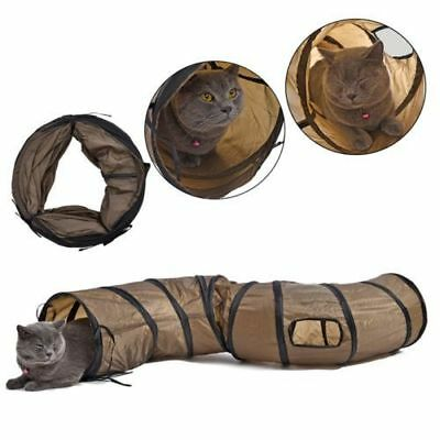 Kitty Cat Play Tunnel S Shape Collapsible Crinkle Animal Rabbit Tunnel Toy Brown