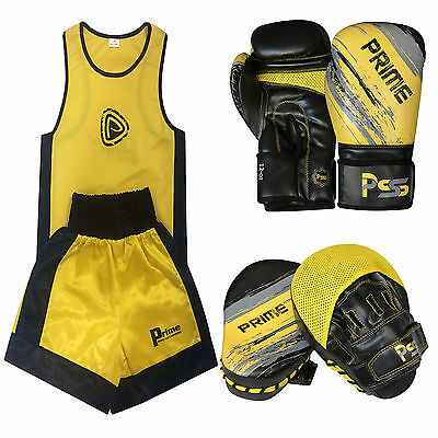 Kids Set 3 Pcs Boxing Uniform + Boxing Gloves 1012 + Focus Pad 1106 (SET-11)