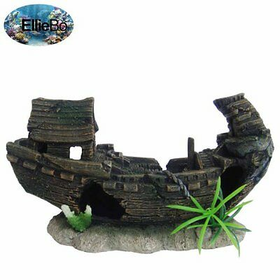 Ellie-Bo Shipwreck Handpainted Polyresin Aquarium Ornament, 23 x 9.5 x 13.5 cm