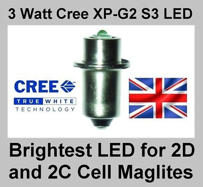 TTS Maglite Torch Cree 3 Watt XP-G2 LED Bulb Conversion Upgrade 2 D/C Cell 2d 2c