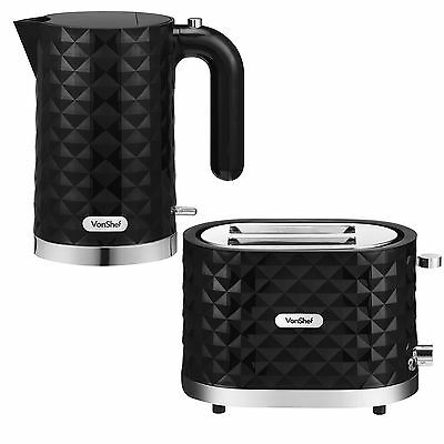 VonShef 3000W 1.5L Diamond Electric Kettle and 2 Slice Wide Slot Toaster Set