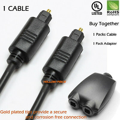 3FT Digital Optic Audio Toslink Cable +1 IN 2 OUT Toslink Digital Audio Splitter