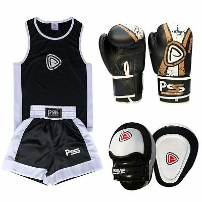 Kids Set 3 Pcs Boxing Uniform + Boxing Gloves 1017 + Focus Pad 1104 (SET-22)