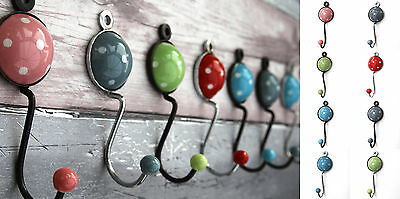 Ceramic and metal polka dot shabby chic vintage coat hooks