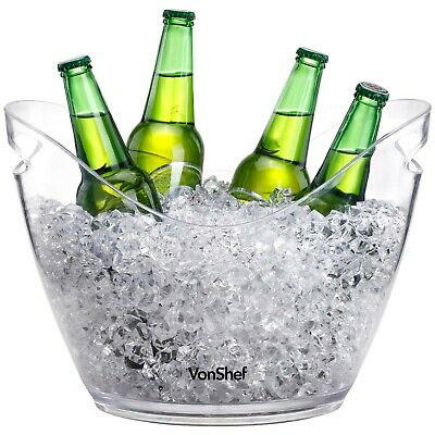VonShef Large Clear Acrylic 7.5L Ice Cooler Beer Bucket Champagne Drinks Wine