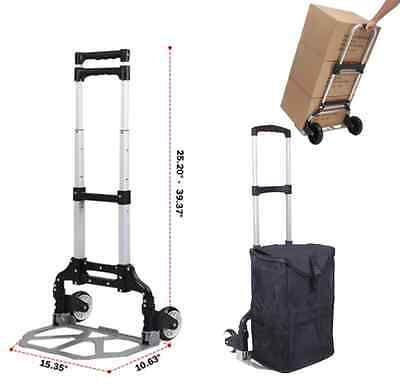 170 lbs Cart Folding Dolly Push Truck Hand Collapsible Trolley Luggage Black OY