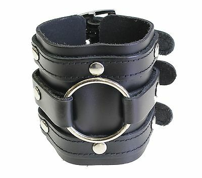 Triple Strap Leather Cuff Wrap Gothic Wristband Bracelet Buckle Fastening BLACK