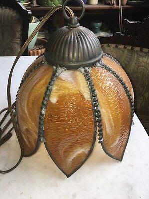 Vtg Amber Orange Slag Glass Chandelier Light Lamp Antique MidCentury Art Nouveau