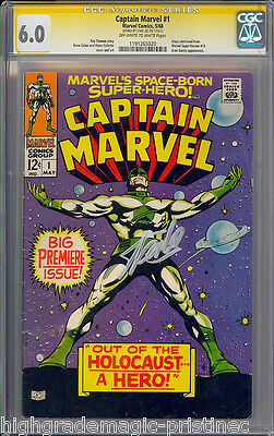 Captain Marvel #1 Cgc 6.0 Oww Ss Stan Lee Signed Sig Series Cgc  #1191265020