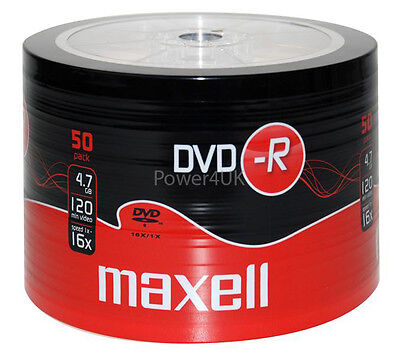 Maxell DVD-R 16x 4.7GB Blank DVDs Media Disks 50 Shrink Wrap Pack