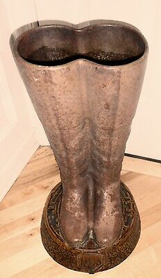 Antique Terra cotta umbrella/cane stand in the form a pair of Riding Boots