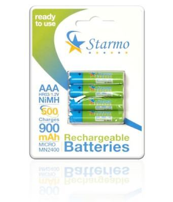 Starmo AAA MN2400 900mAh HR03/1.2V Rechargeable Batteries NiMH Ready To Use