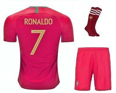 Portugal Home Ronaldo #7 Football Soccer Kid Jersey outfit w FREE Shorts & Socks