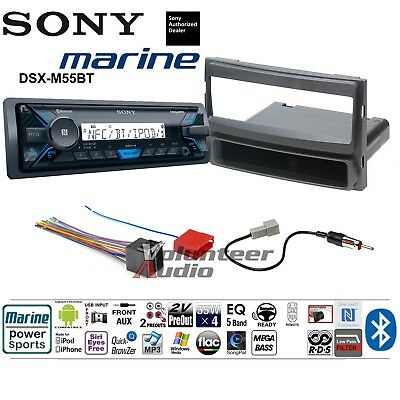 Sony Bluetooth Stereo Media Player Dash Install Mount Kit Harness Marine No CD