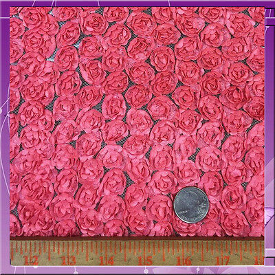 Small Rose Mesh 60 Inches Wide Fabric Sold By The Yard Coral