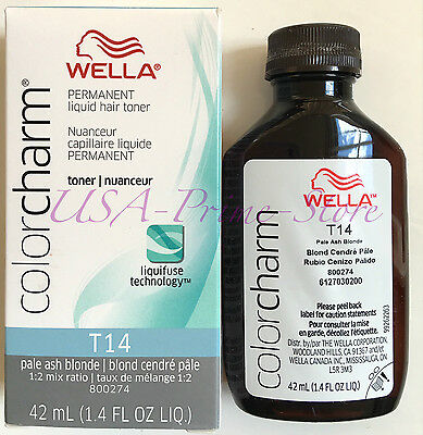 NEW! Wella Color Charm Liquid Toner #T14 - Pale Ash Blonde, 42 ml.  #UK SELLER