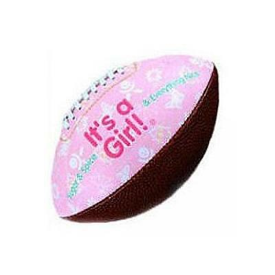 """""""IT'S A GIRL"""" FOOTBALL -BIRTH ANNOUNCEMENT/Keepsake/GIFT/Pink - INCLUDES DISPLAY"""