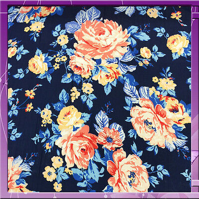 100% Rayon challis Navy Coral 53-54 in w Fabric by the yard