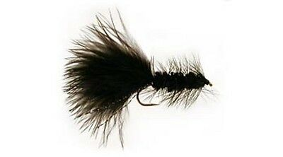 12 Black Woolly Bugger Fly Fishing Flies #8,10,12