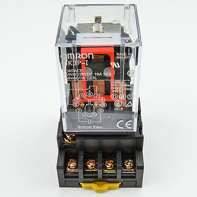 (1PC) 10A Omron MK3P-I Cube Relays 110~120V AC Coil with PF113A Socket Base