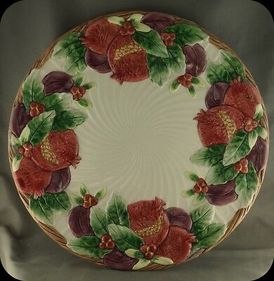 """Fitz and Floyd Pomegranate and Holly Vegetables swirl Large Plate 12"""""""